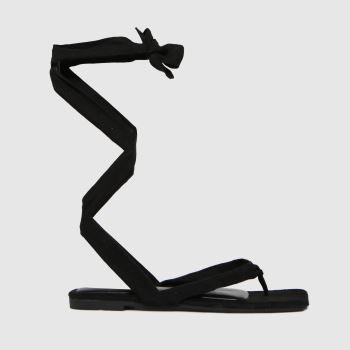 schuh Black Tazia Square Toe Tie Sandal Womens Flats