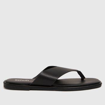 schuh Black Tracy Toe Post Womens Sandals