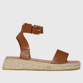 schuh Tan Victoria Espadrille Buckle Womens Sandals