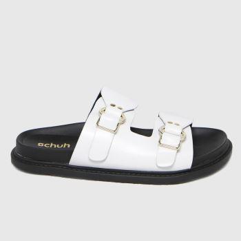 schuh White Talia Double Strap Buckle Womens Sandals