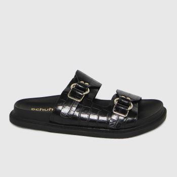 schuh Black Talia Double Strap Buckle Womens Sandals