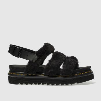 DR MARTENS BLACK DM ZEBRILUS YELENA FLUFFY SANDALS