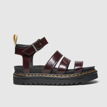 Dr Martens Burgundy Vegan Blaire Womens Sandals#