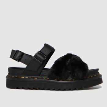 Dr Martens Black Voss Ii Fluffy Womens Sandals