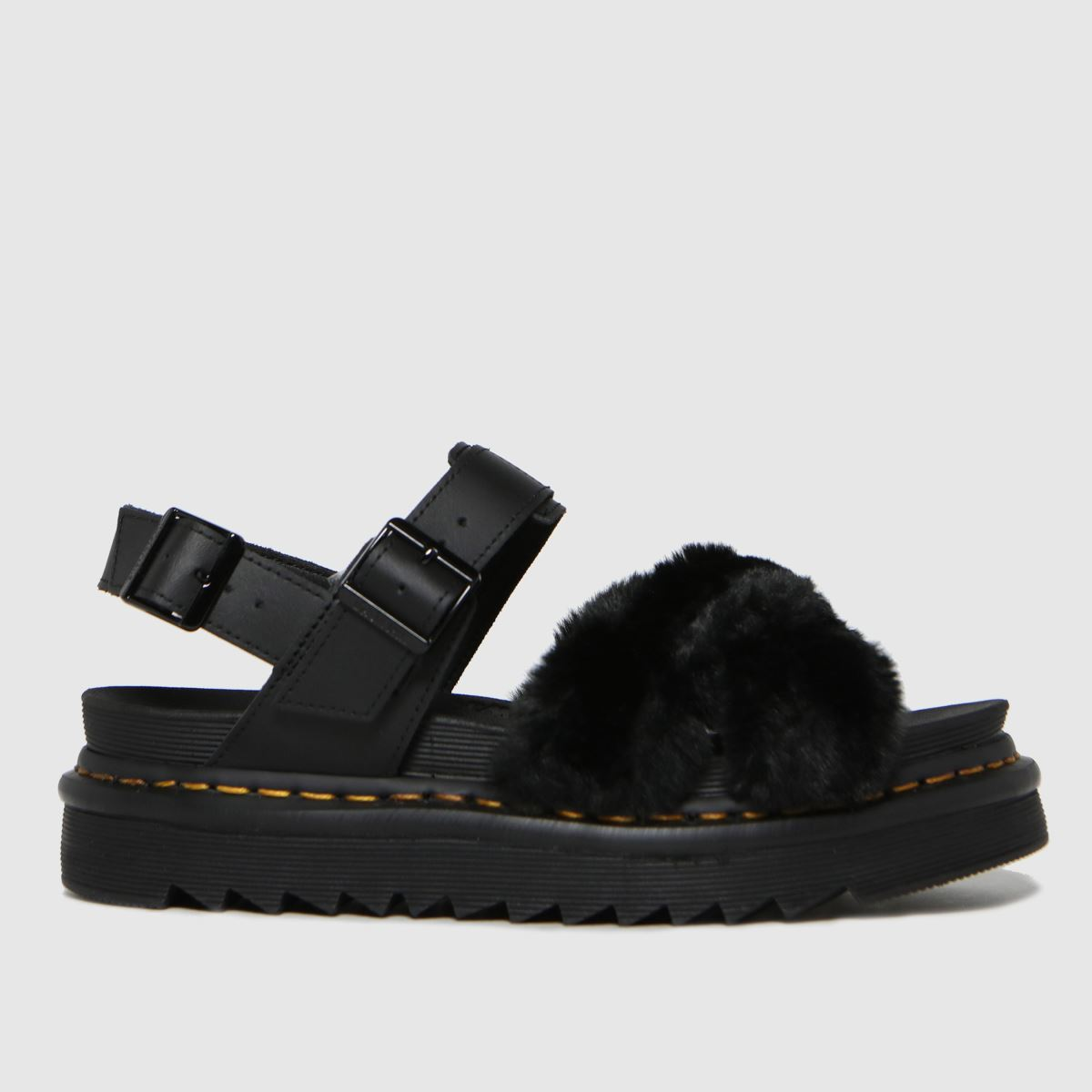 Dr Martens Black Voss Ii Fluffy Sandals