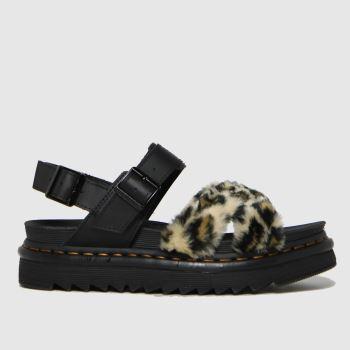 Dr Martens Black & Brown Voss Ii Fluffy Womens Sandals