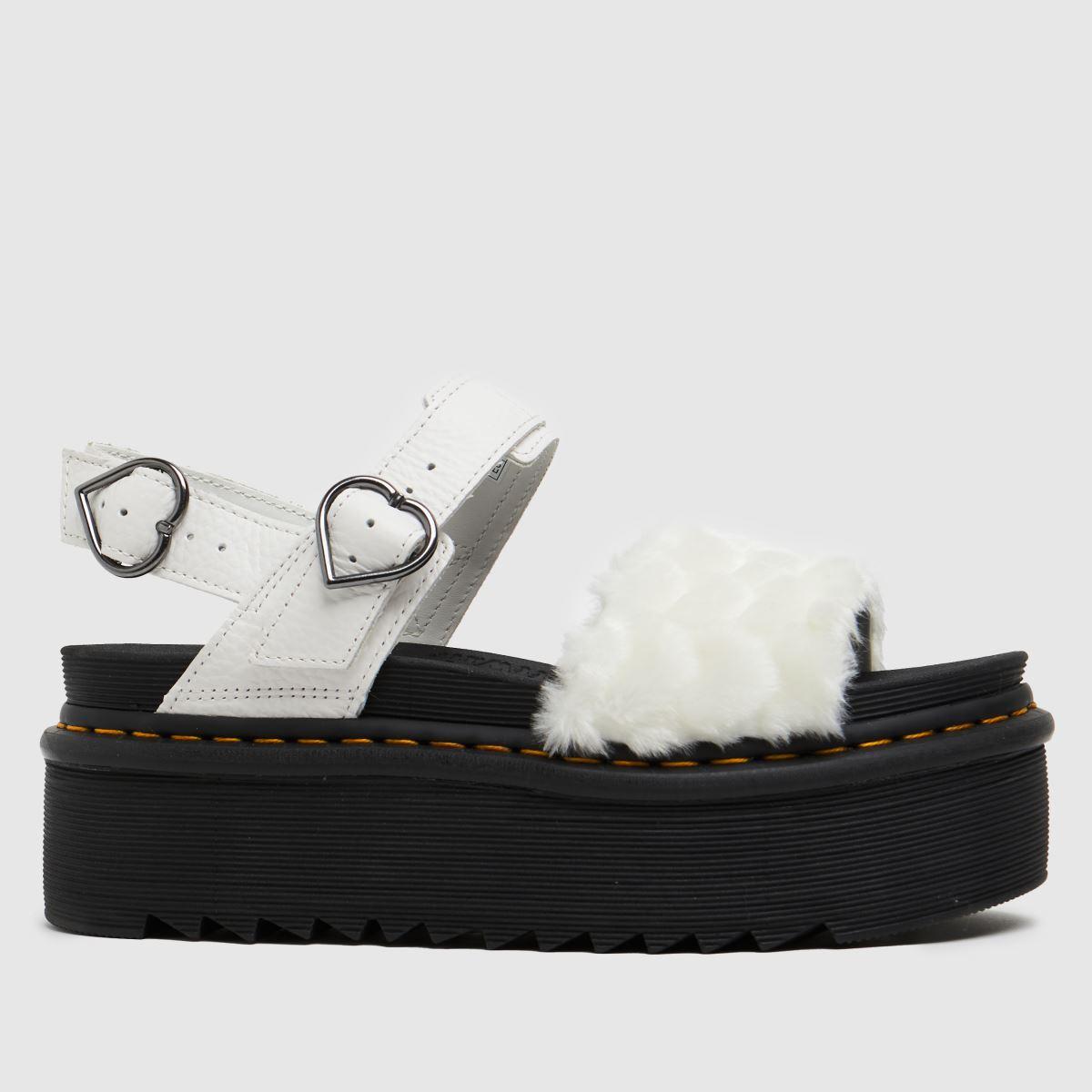 Dr Martens White Voss Quad Fluffy Sandals