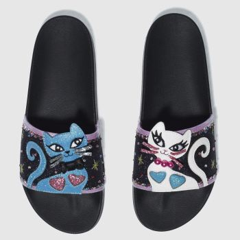 IRREGULAR CHOICE BLACK AND BLUE PURFECT PRETTY SLIDE SANDALS