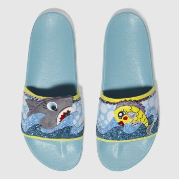 IRREGULAR CHOICE BLUE & YELLOW BUBBLE & GALAXY SLIDE SANDALS