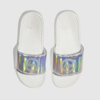Hype Silver Holographic Sliders Womens Sandals