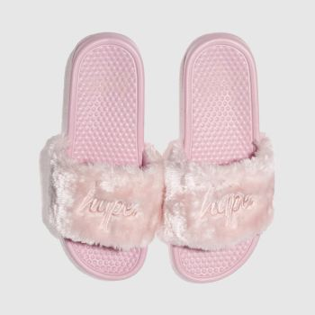 Hype Pink Fluffy Sliders Womens Sandals