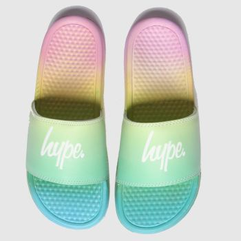 HYPE BLUE & GREEN PASTEL RAINBOW SLIDER SANDALS