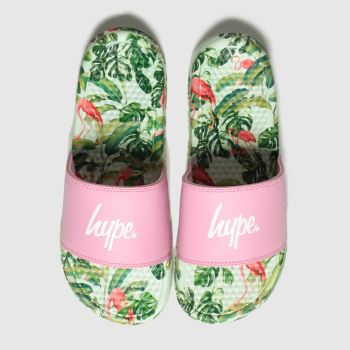 Hype Pink & Green Flamingo Sliders Womens Sandals