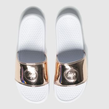 Hype White & Gold Metallic Sliders Womens Sandals