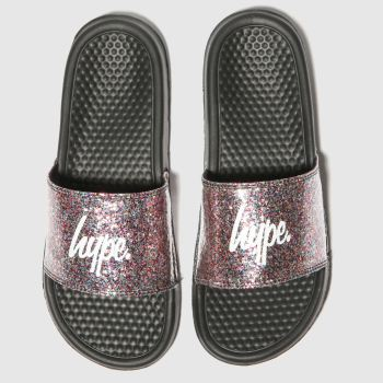 Hype Black & Silver Glitter Slider Womens Sandals