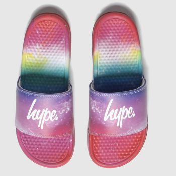 hype red & purple rainbow sliders sandals