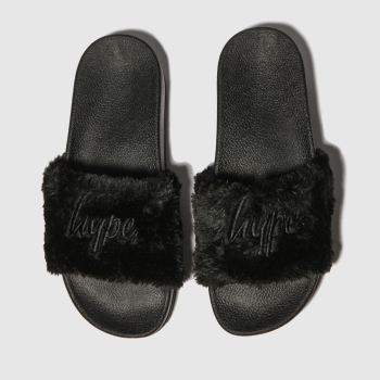 hype black flatform slider sandals