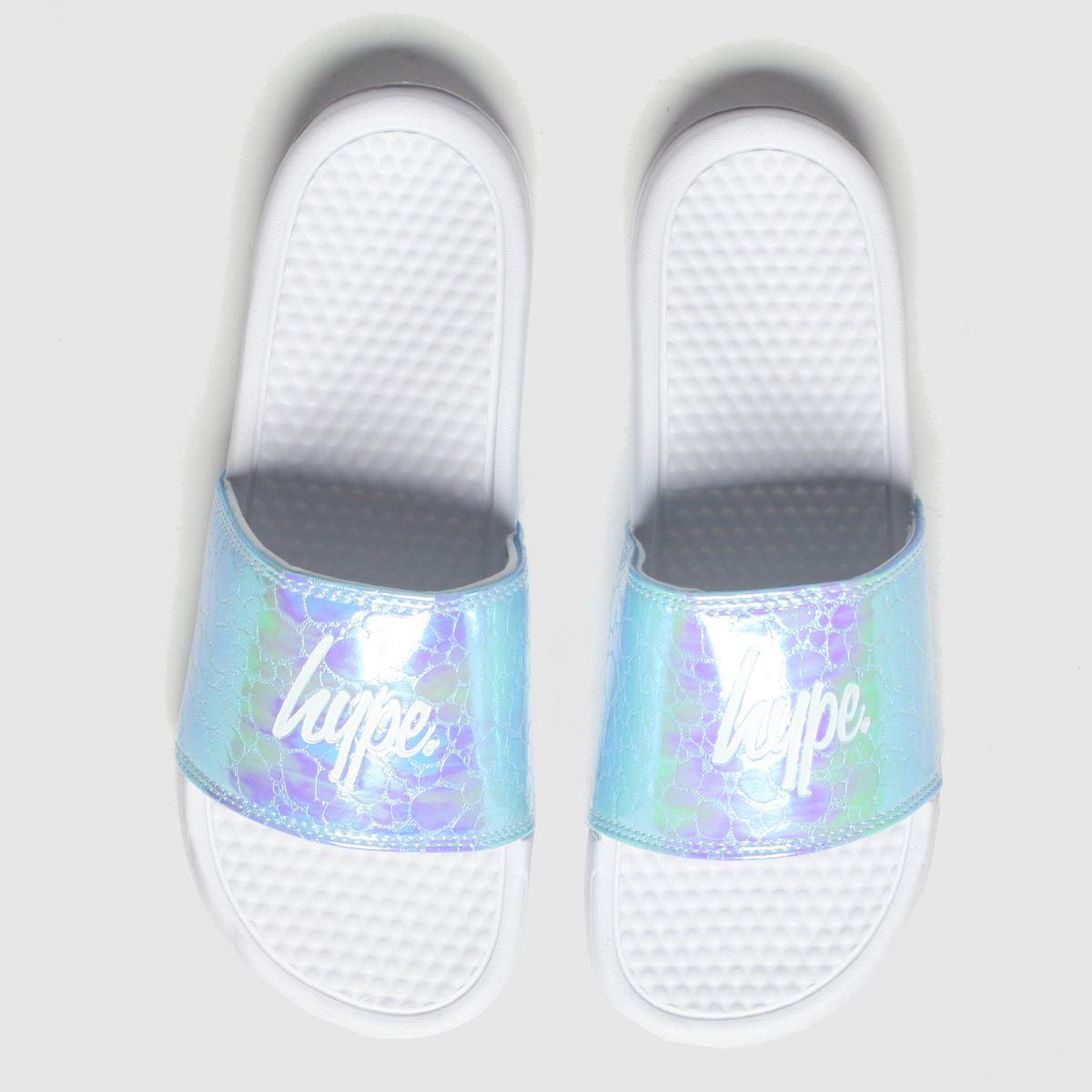 Hype Pale Blue Iridescent Sliders Sandals