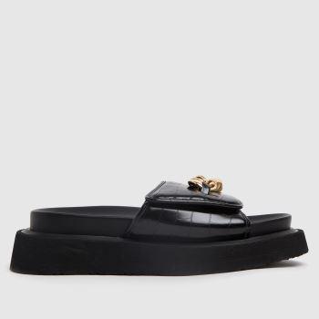 Shellys London Black & Gold Sophia Chain Slider Womens Sandals