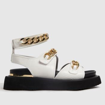 Shellys London White & Black Sade Chain Womens Sandals