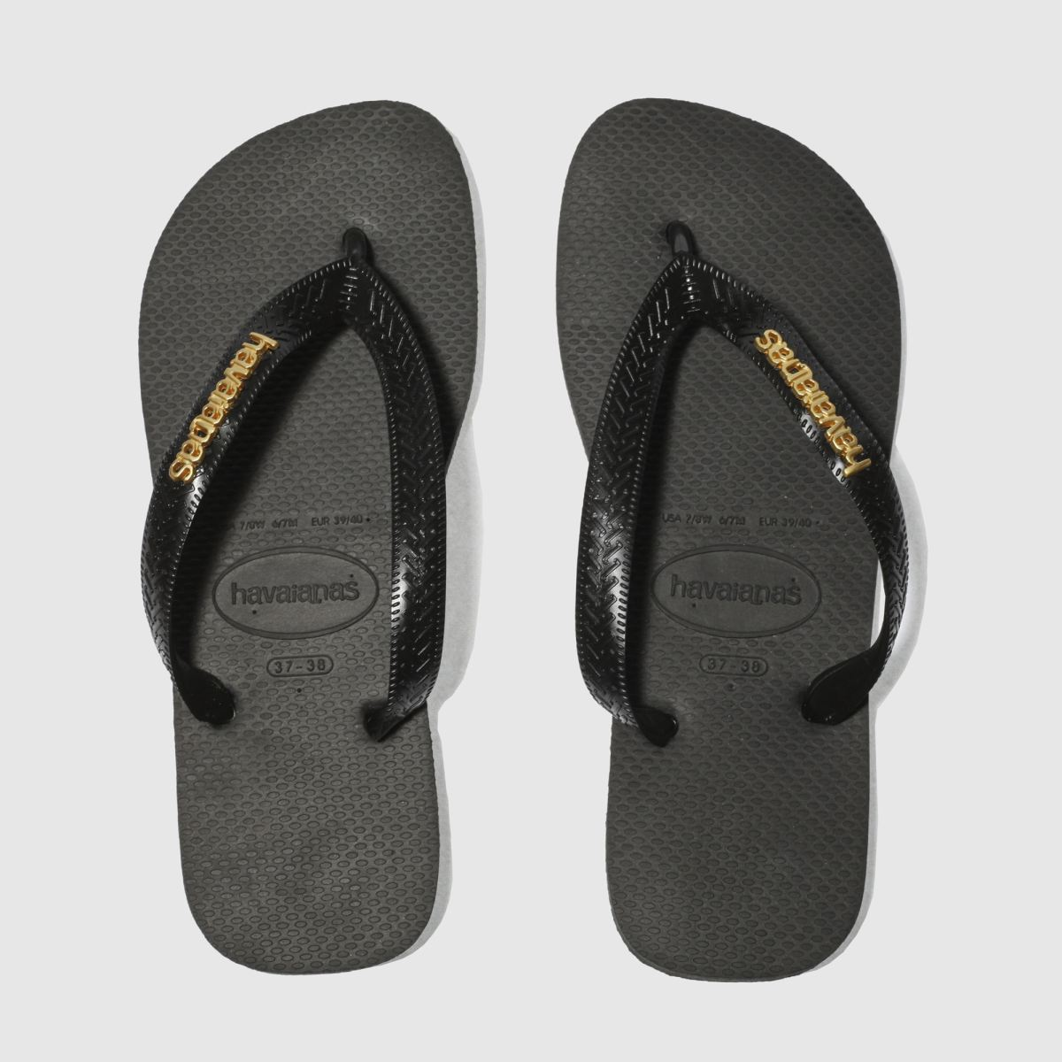 Womens Black Amp Gold Havaianas Top Logo Metallic Sandals