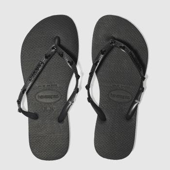 womens black havaianas slim hardware sandals  518f2d7c497f