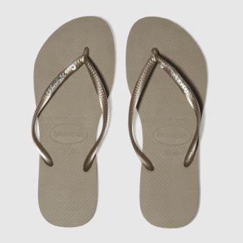 Havaianas Gold Slim Metal Logo Womens Sandals#