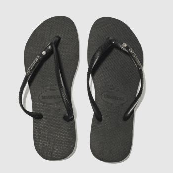 Havaianas Black & Silver Slim Metal Logo Womens Sandals#