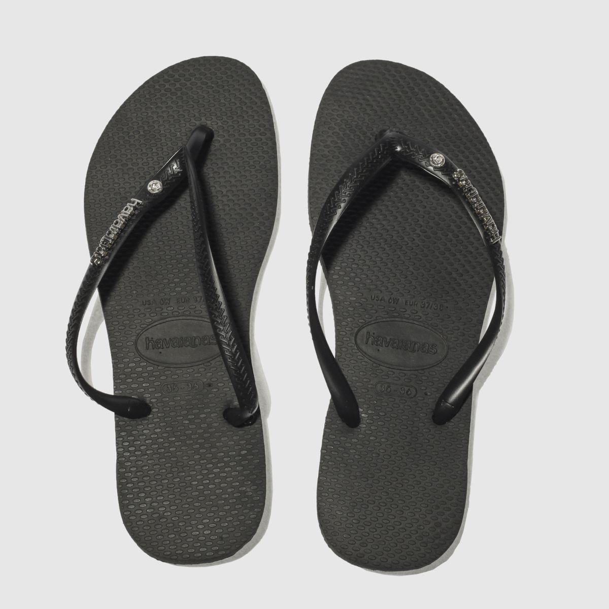 Havaianas Black & Silver Slim Metal Logo Sandals