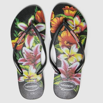 havaianas Black Slim Floral Womens Sandals