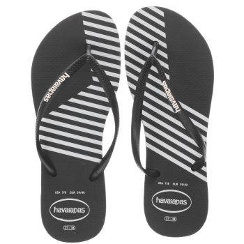 3a423570faebdc womens black   white havaianas slim block colors sandals
