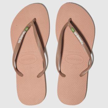 67570c108 Havaianas Pink Slim Brasil Logo Womens Sandals