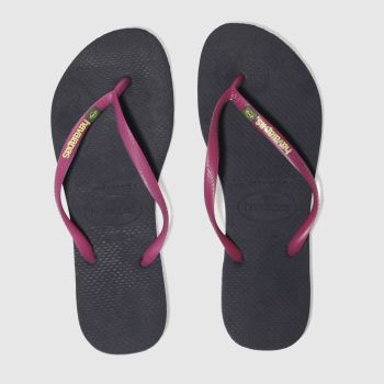 Havaianas Navy Slim Brasil Logo Womens Sandals
