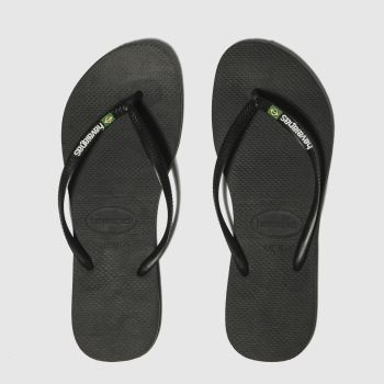 Havaianas Black Slim Brasil Logo c2namevalue::Womens Sandals