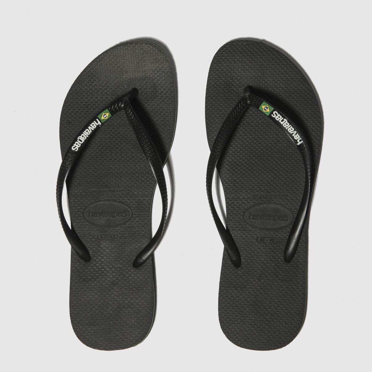 Havaianas Black Slim Brasil Logo Sandals
