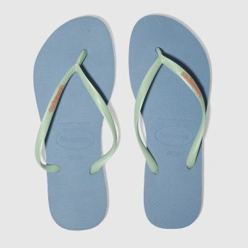 Havaianas Pale Blue Slim Logo Womens Sandals