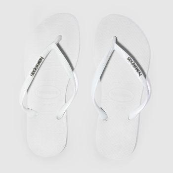 Havaianas White & Silver Slim Logo Metallic Womens Sandals