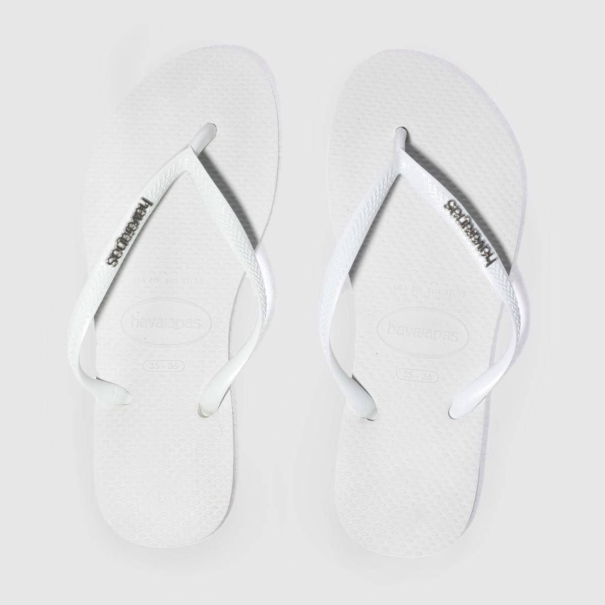 Havaianas White & Silver Slim Logo Metallic Sandals