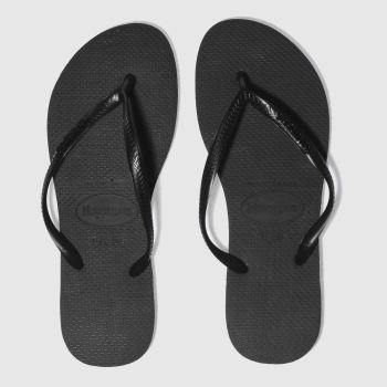 Havaianas Black Slim Logo Metallic Womens Sandals