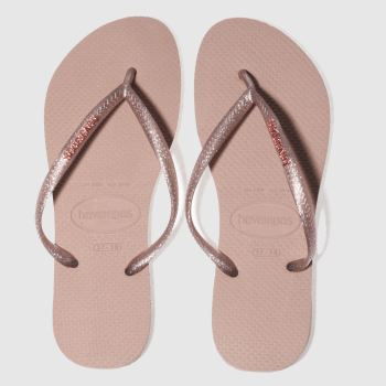 Havaianas Pink Slim Logo Metallic Womens Sandals
