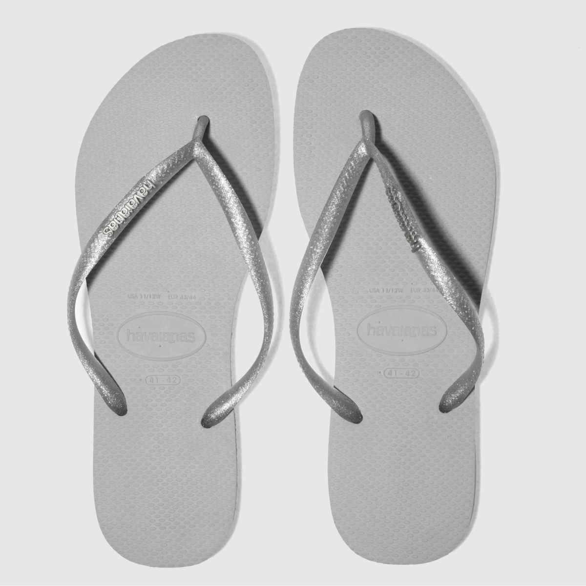 Havaianas Silver Slim Logo Metallic Sandals