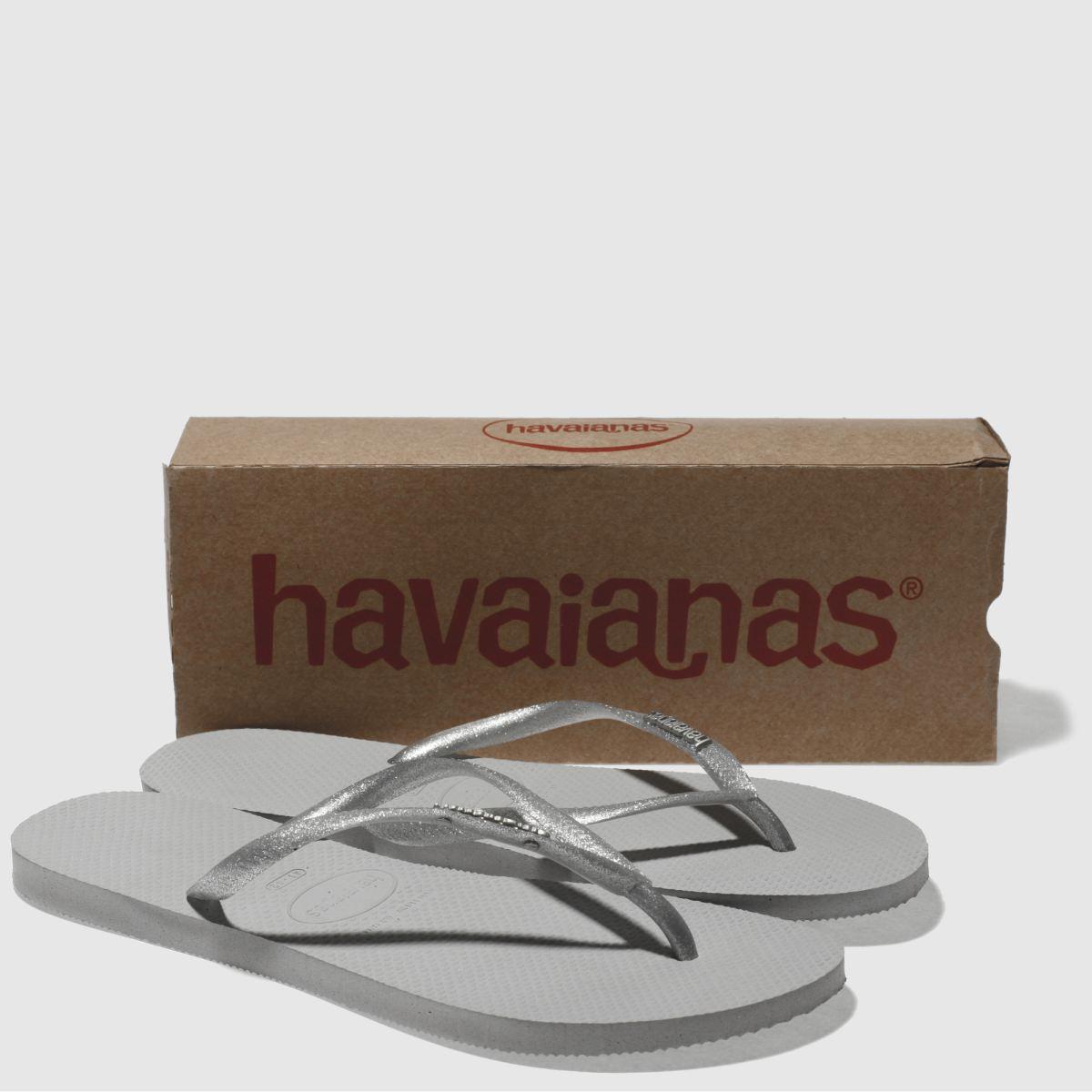 6812d49b480d21 ... Damen Silber Sandalen havaianas Slim Logo Metallic Sandalen Silber