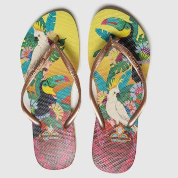 havaianas Yellow Slim Tropical Womens Sandals