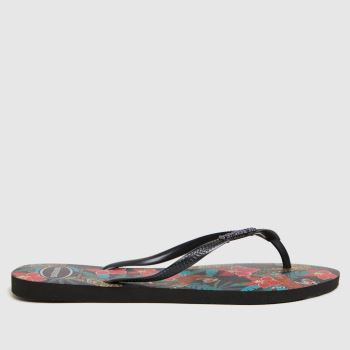 Havaianas Black & Grey Slim Tropical Womens Sandals