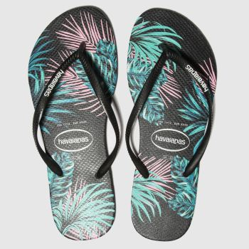 Havaianas Black Slim Tropical Floral Womens Sandals