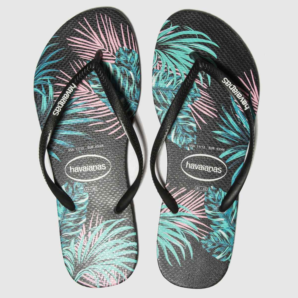 Havaianas Black Slim Tropical Floral Sandals