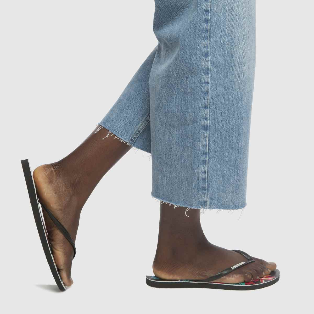 Damen Schwarz-rot havaianas Slim Tropical Floral Sandalen | schuh Gute Qualität beliebte Schuhe