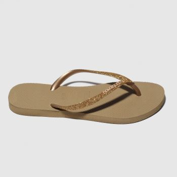 Havaianas Gold Slim Glitter Womens Sandals