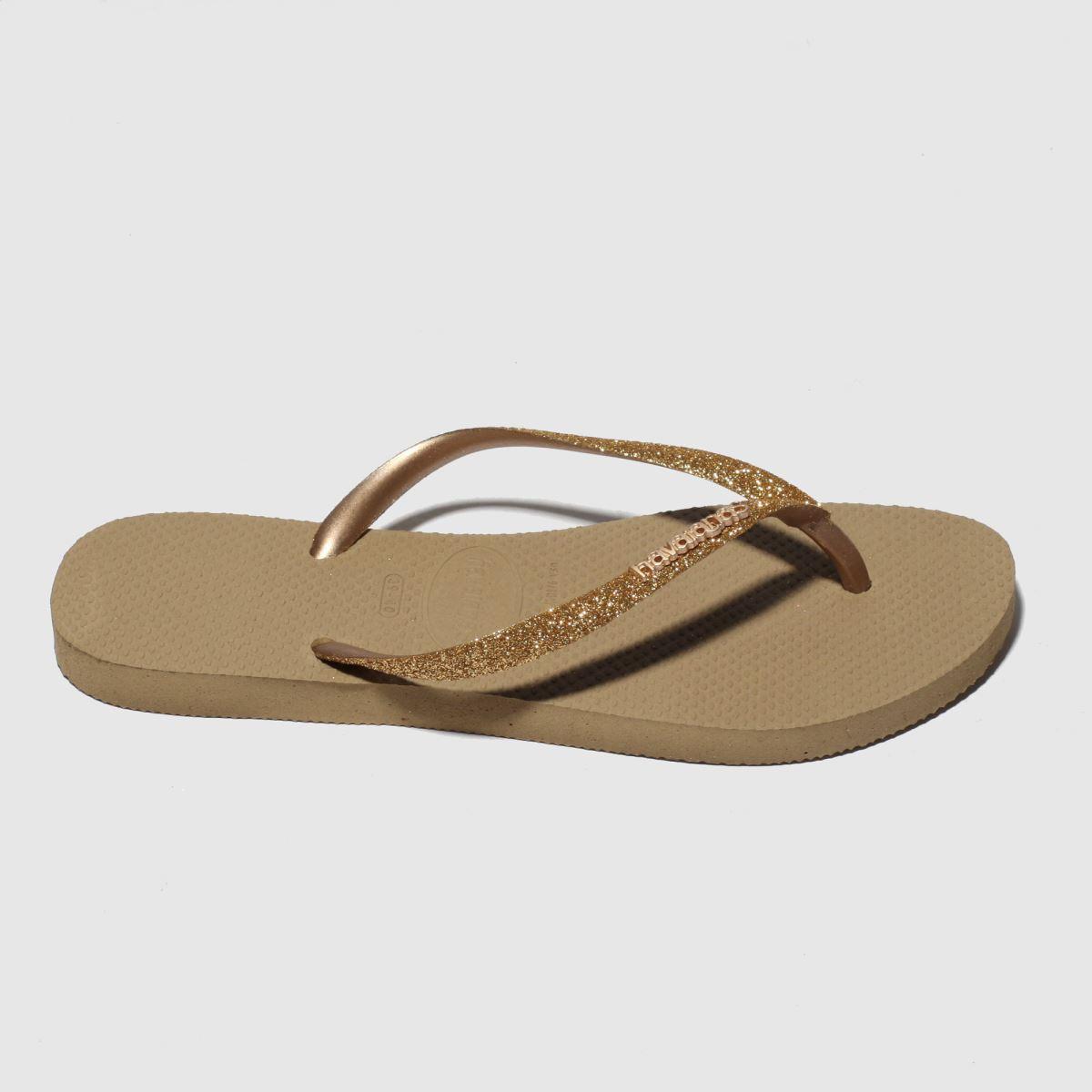 Havaianas Gold Slim Glitter Sandals