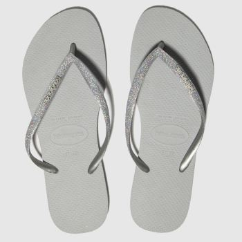 Havaianas Grey Slim Glitter Womens Sandals#